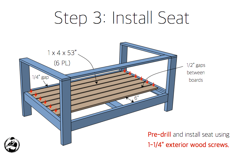 DIY Outdoor Loveseat Plans - Step 3