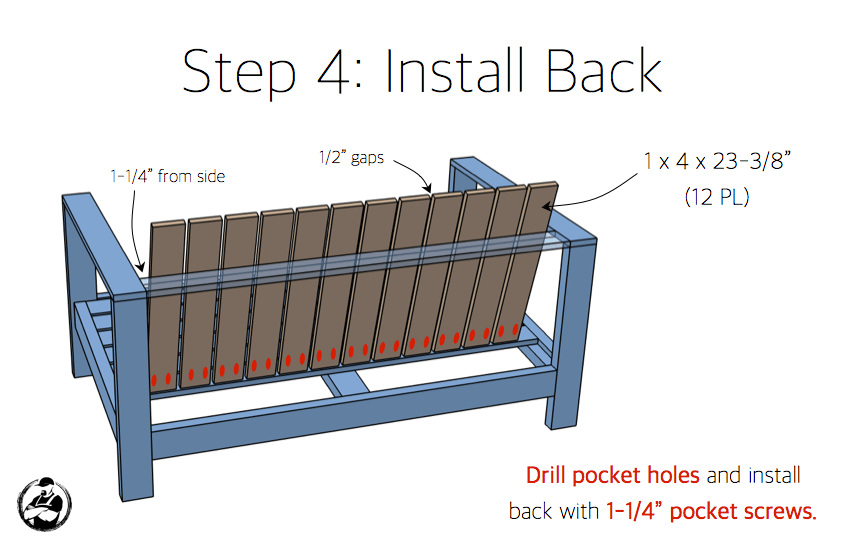 DIY Outdoor Loveseat Plans - Step 4