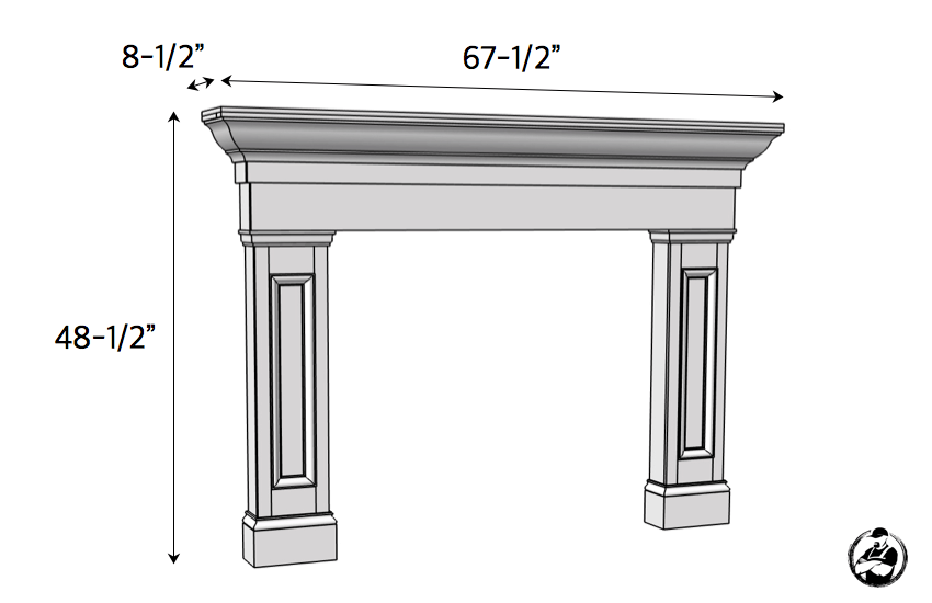 DIY Faux Fireplace Mantel Surround Plans - Dimensions