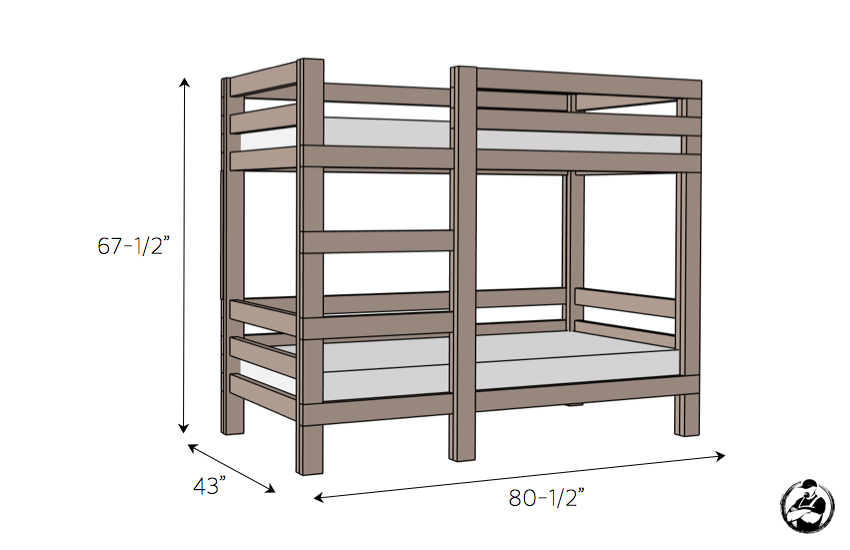 Simple Diy 2x4 Bunk Bed Plans Dimensions