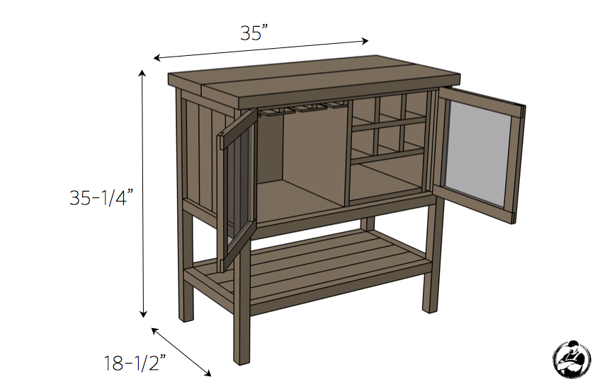 DIY Bar Cabinet Plans - Dimensions