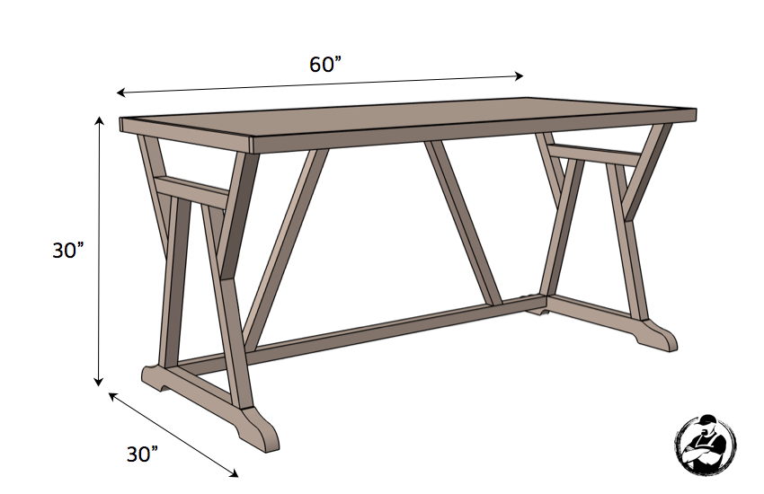 DIY Truss Desk Plans - Dimensions