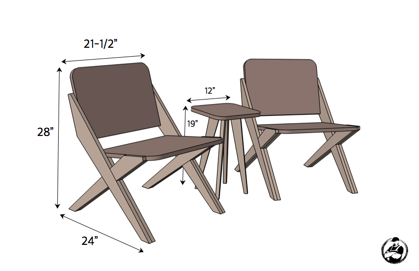 1 Sheet Of Plywood 2 Chairs 1 Side Table Free Plans