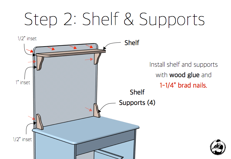 Step 2: Shelf and Supports