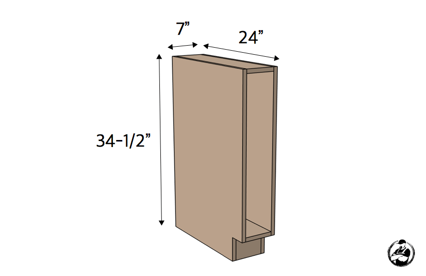 DIY 7in Slim Base Cabinet Plans Dimensions