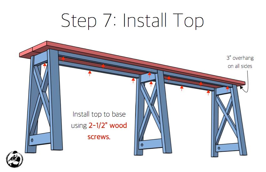 DIY Bar Top Console Table Plans Step 7