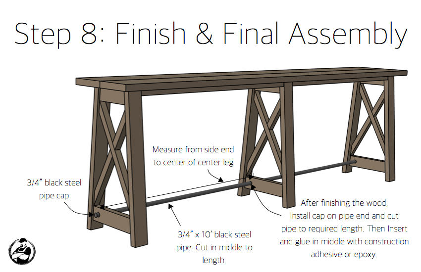 DIY Bar Top Console Table Plans Step 8