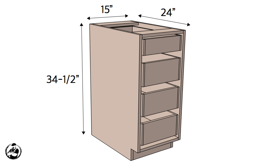 DIY 15in 4 Drawer Base Cabinet Plans Dimensions