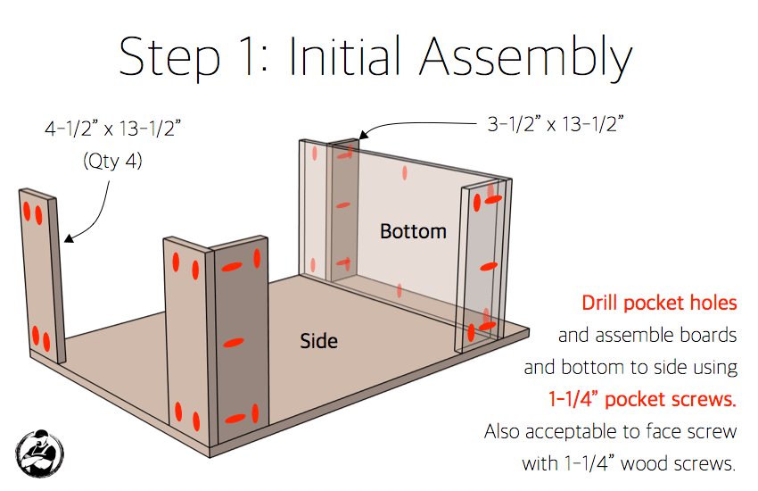 DIY 15in 4 Drawer Base Cabinet Plans Step 1