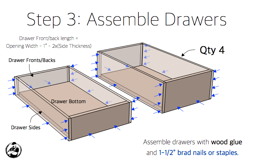 DIY 15in 4 Drawer Base Cabinet Plans Step 3