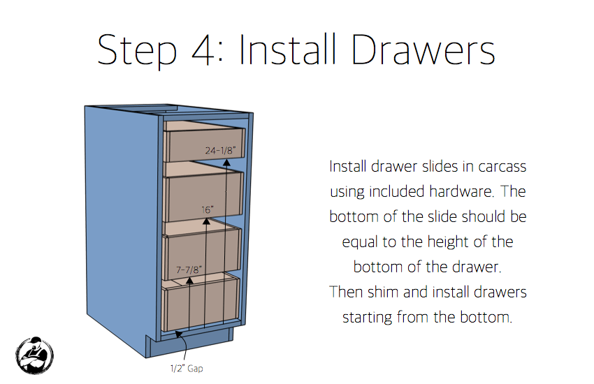 DIY 15in 4 Drawer Base Cabinet Plans Step 4