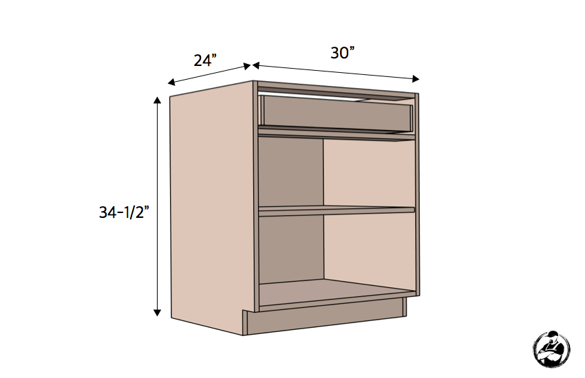 DIY 30in 1 Drawer 2 Door Base Cabinet Carcass Plans Dimensions