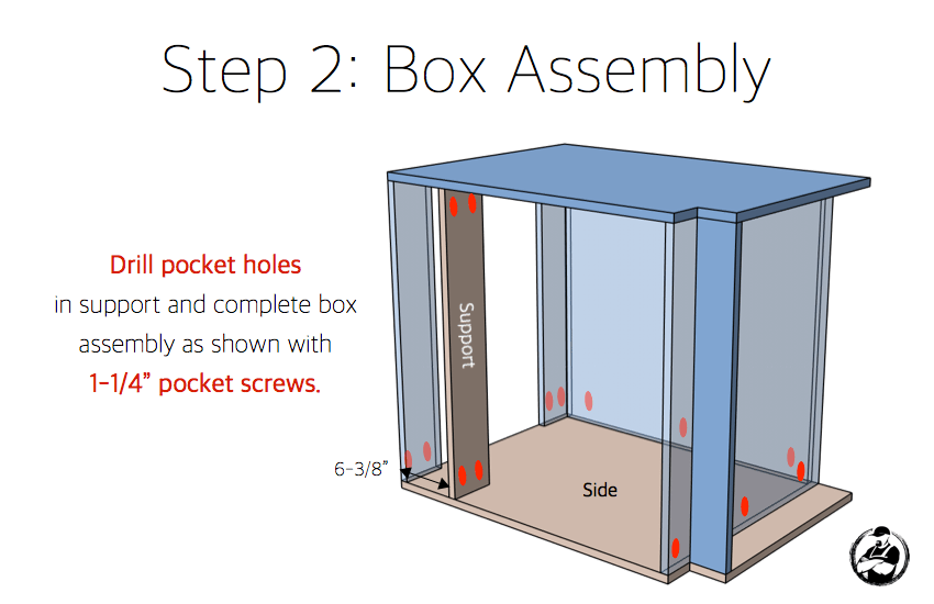DIY 30in 1 Drawer 2 Door Base Cabinet Carcass Plans Step 2