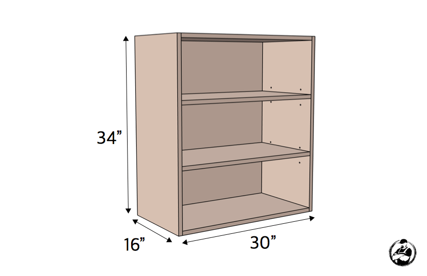 DIY 30in Upper Cabinet Carcass Plans Dimensions