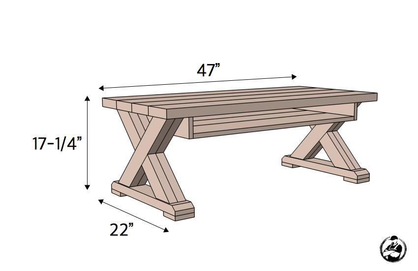 DIY X Leg Coffee Table with Shelf Plans Dimensions