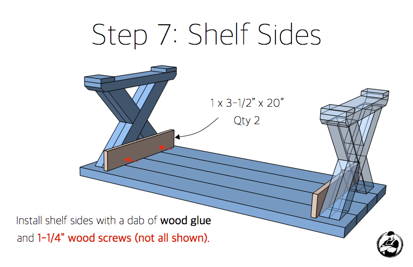 DIY X Leg Coffee Table with Shelf Plans Step 7
