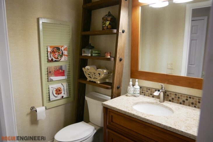 DIY Leaning Bathroom Shelf Plans Rogue Engineer 2