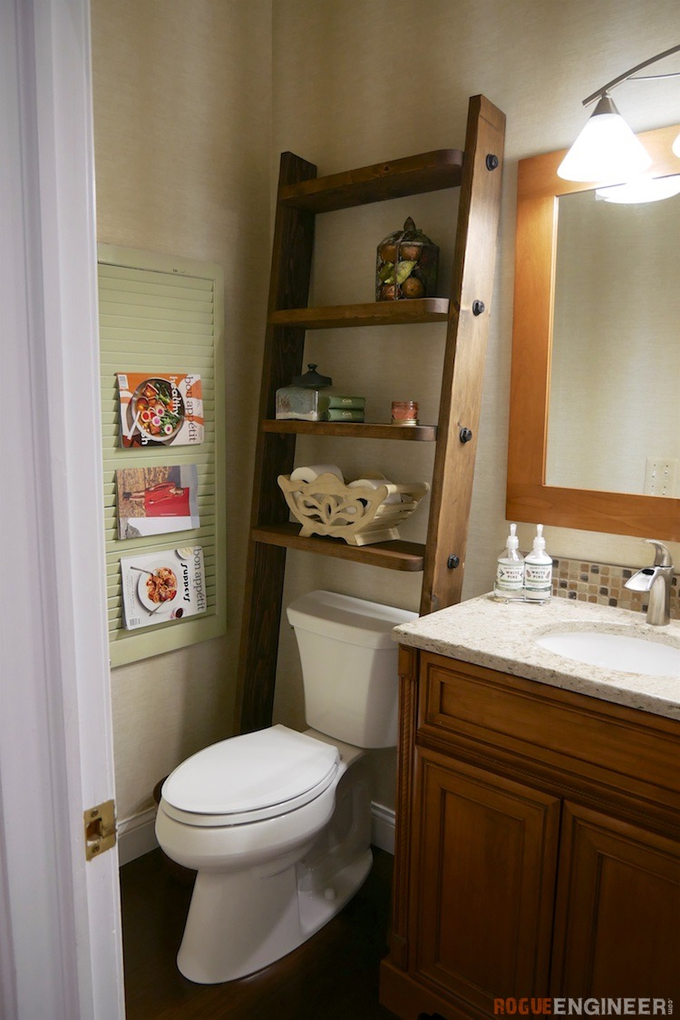 DIY Leaning Bathroom Shelf Plans Rogue Engineer 3