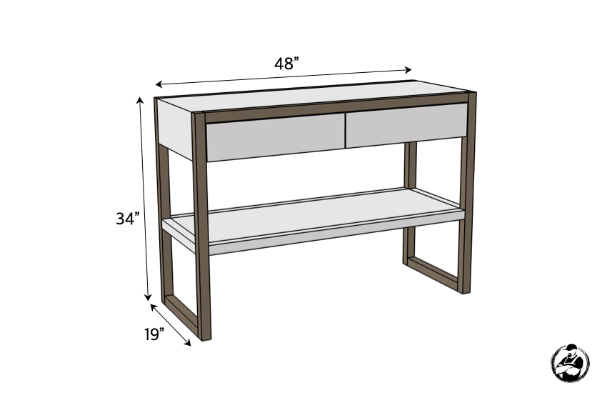DIY Modern Console Table Plans Dimensions