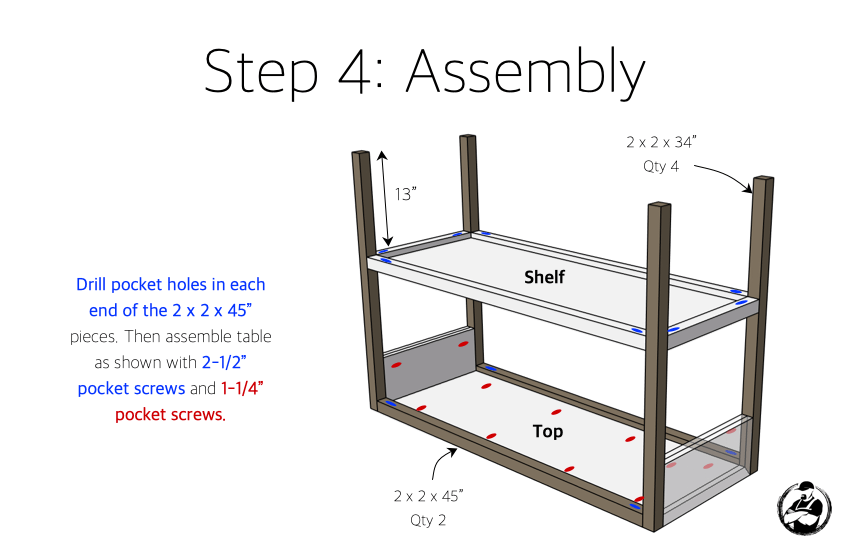 DIY Modern Console Table Plans Step 4