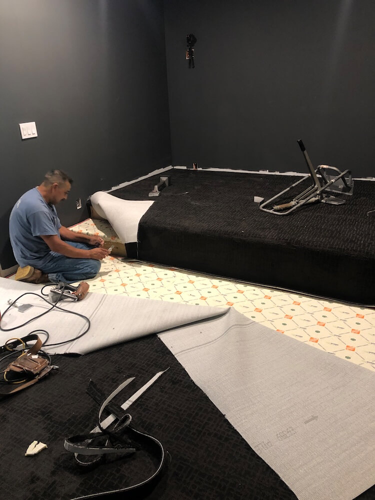 Theater Room Carpet Install 25