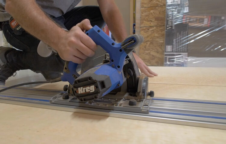 Breaking down plywood with Kreg Track Saw