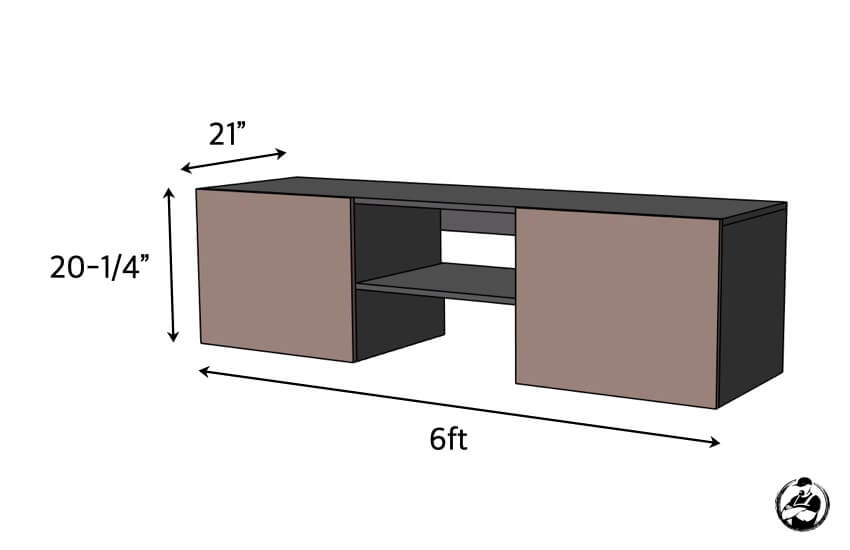Floating Media Console Plans Dimensional Diagram
