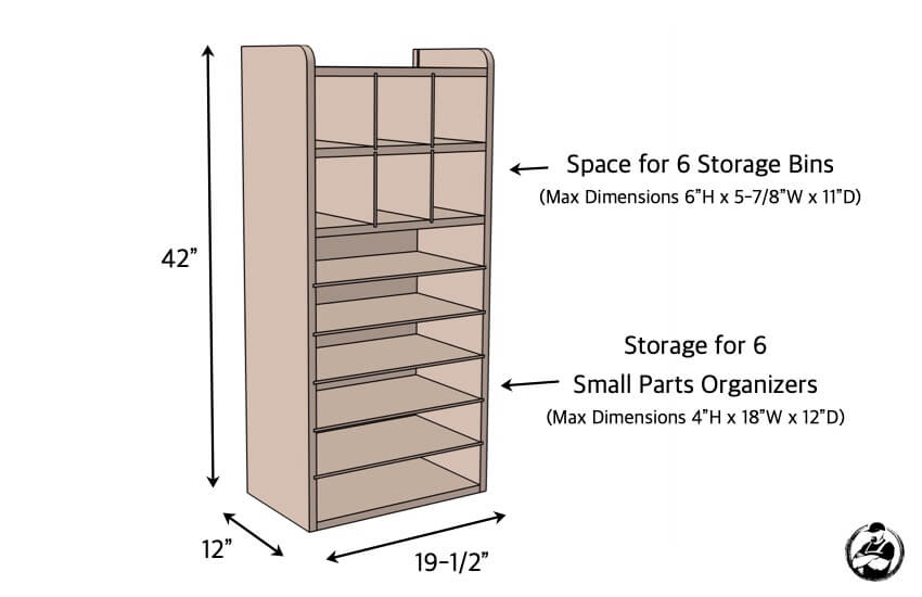 DIY Small Parts Organizer Plans Dimensions
