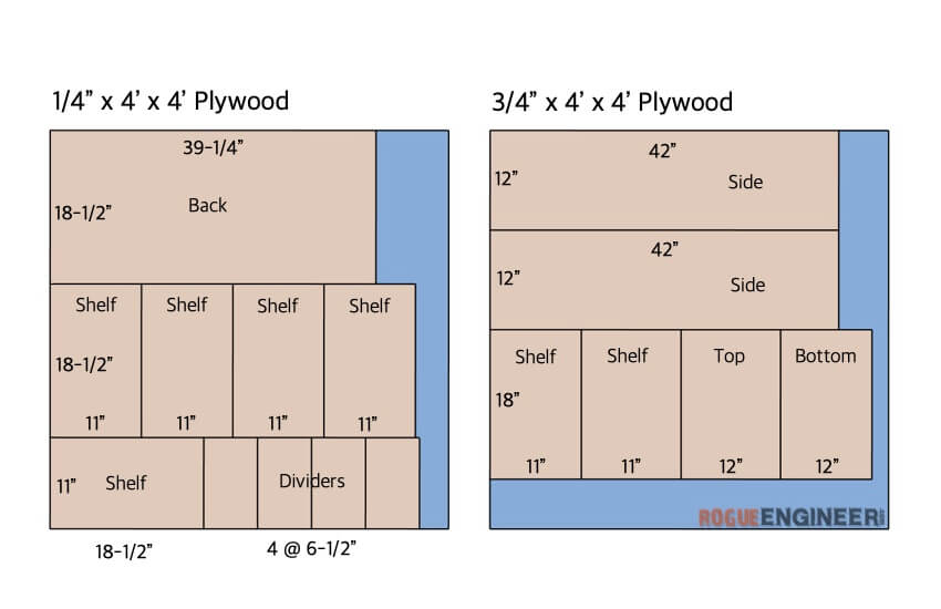 diy small parts organizer plans cut list