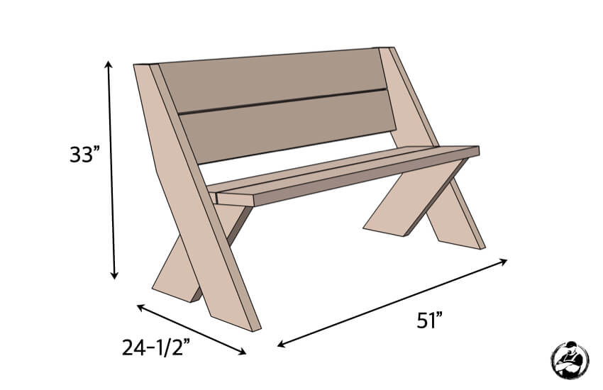 DIY Easy Outdoor Bench Plans Dimensions