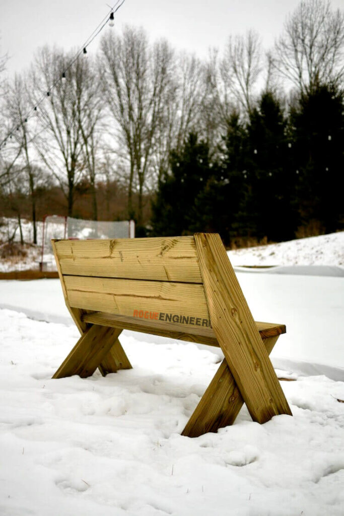 DIY Easy Outdoor Bench with Back Plans Rogue Engineer 5