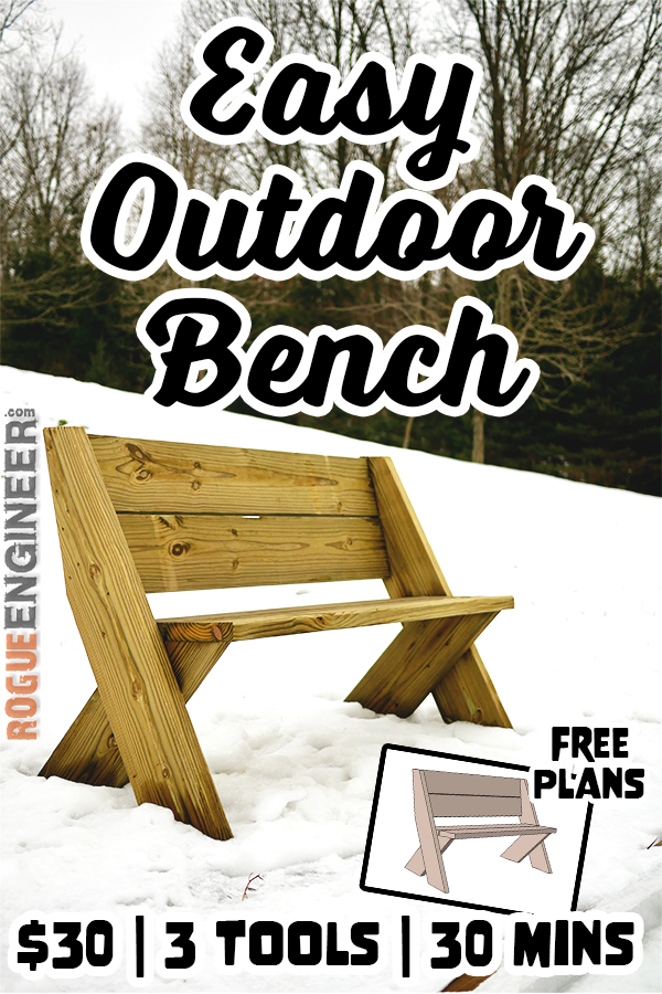 DIY Easy Outdoor Bench with Back Plans Rogue Engineer Pin