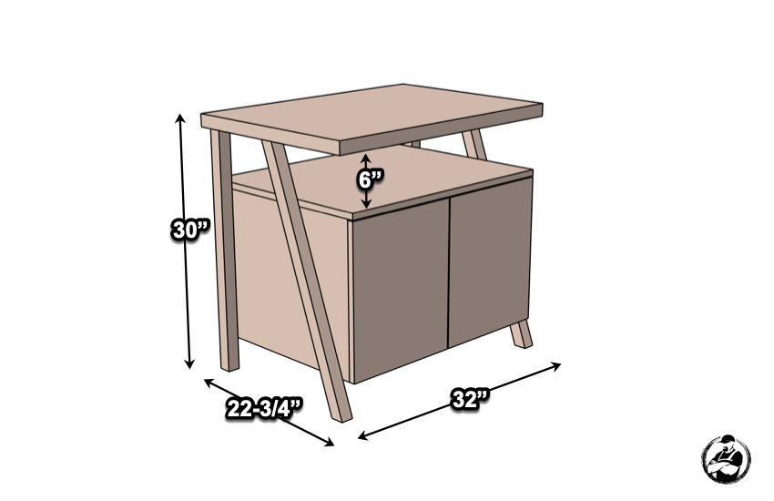 DIY Large Nightstand with Charging Shelf Plans Dimensions