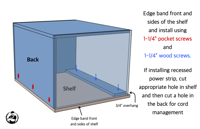 DIY Large Nightstand with Charging Shelf Plans Step 3