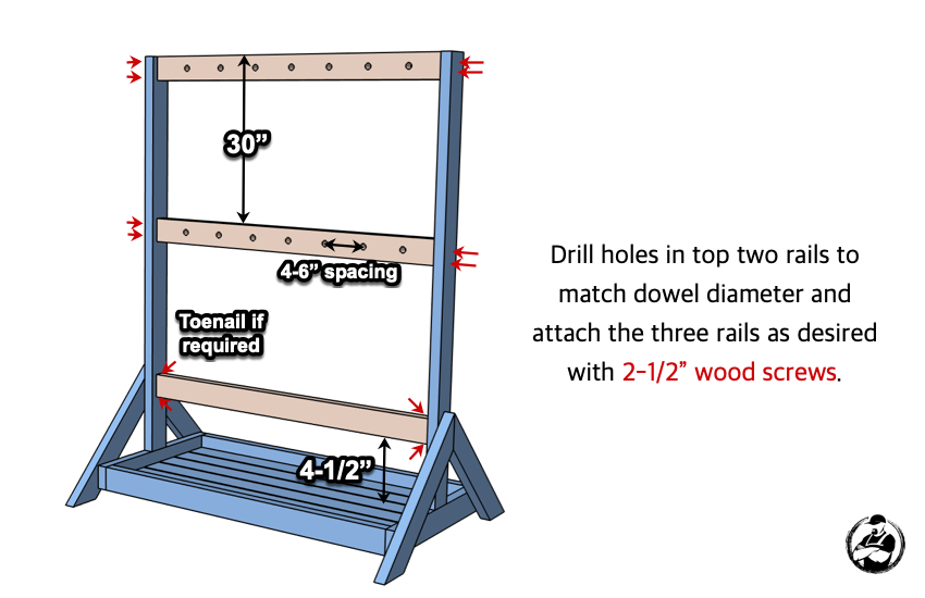 DIY Hockey Stick Ski Rack Plans Step 4
