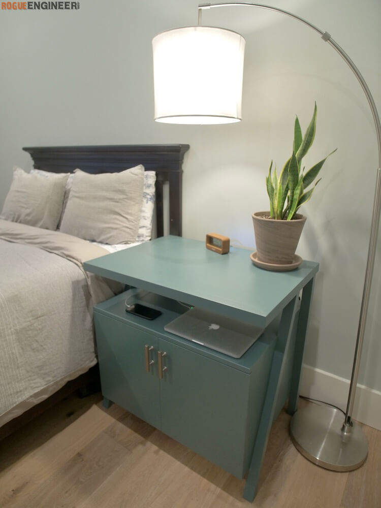 DIY Large Nightstand Plans with Charging Shelf Rogue Engineer 5