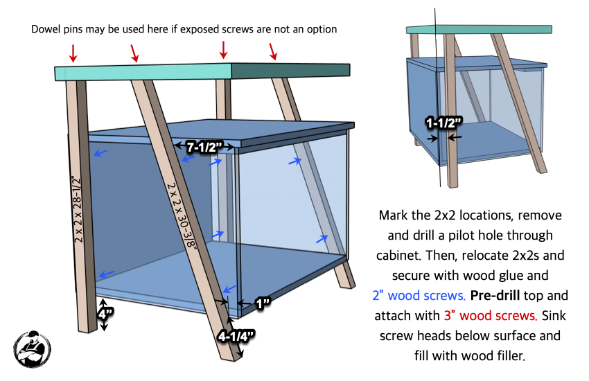 DIY Large Nightstand with Charging Shelf Plans Step 5
