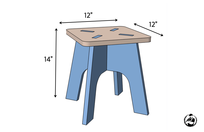 DIY Kids Knockdown Stool Plans Dimensions