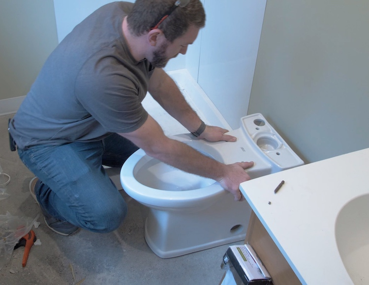 How to install a toilet Step 16