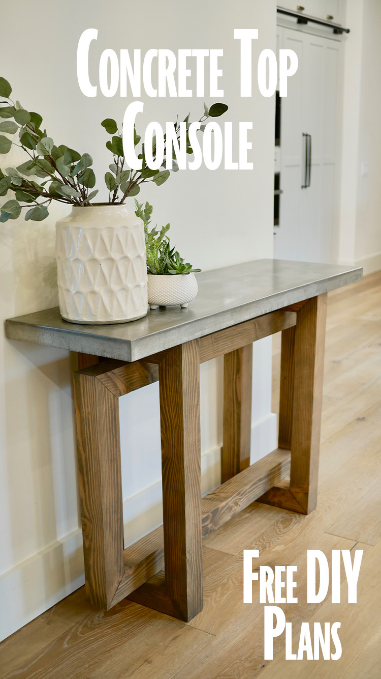 DIY Console Table with Concrete Top Pin It