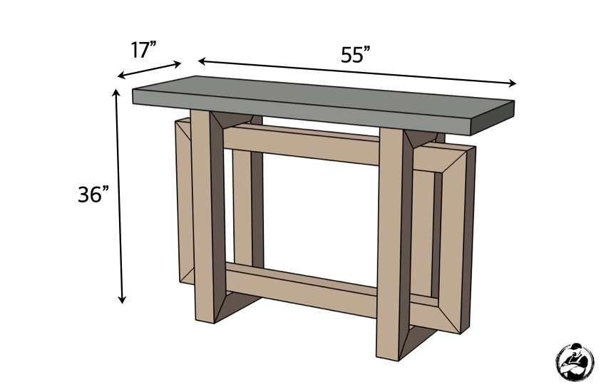 DIY Console Table with Concrete Top Plans Dimensions