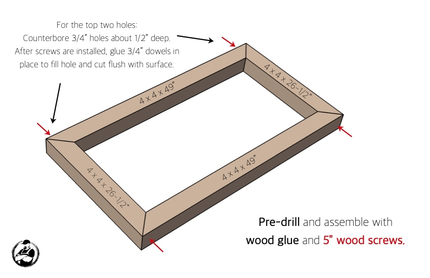 DIY Console Table with Concrete Top Plans Step 4