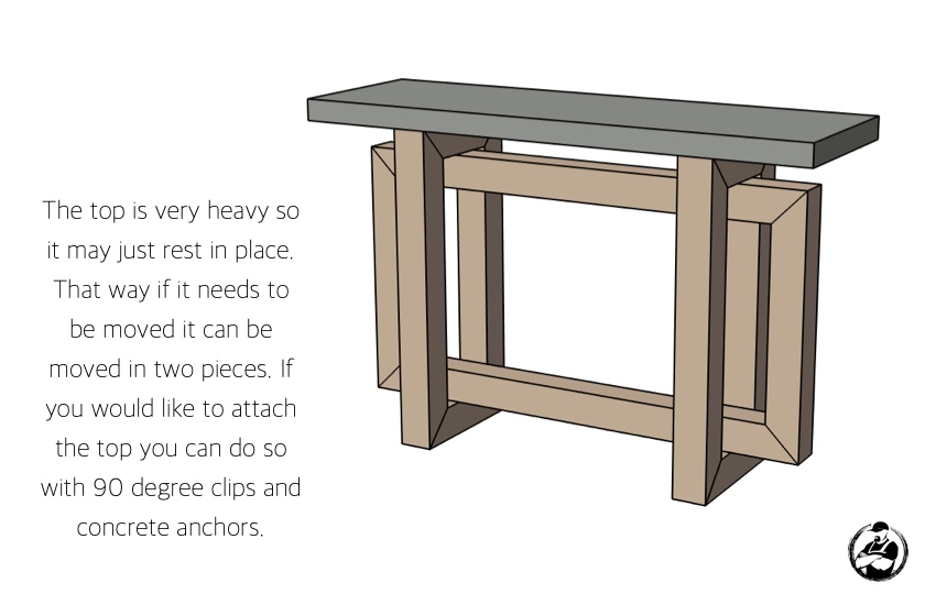 DIY Console Table with Concrete Top Plans Step 7