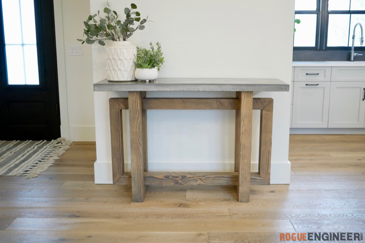 DIY Console Table with Concrete Top Rogue Engineer 1