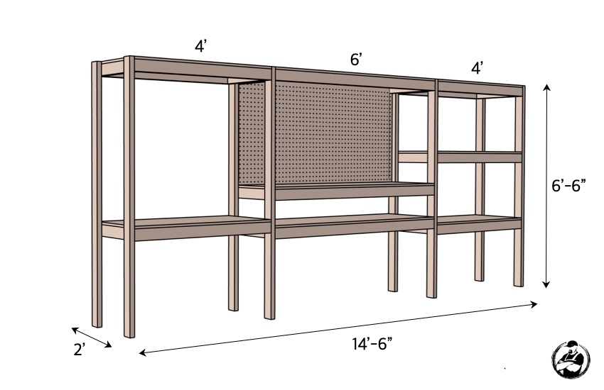 DIY Storage Shelving with Workstation Plans Dimensions
