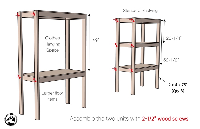 DIY Storage Shelving with Workstation Plans Step 2