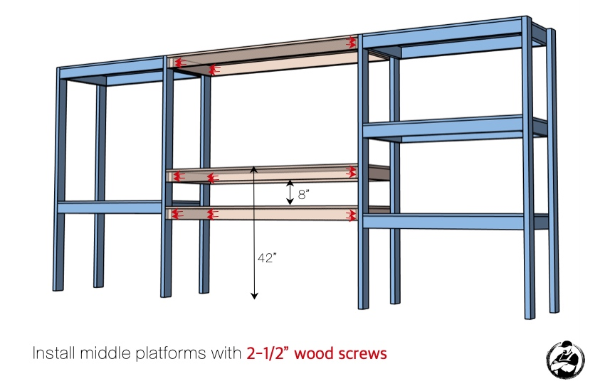 DIY Storage Shelving with Workstation Plans Step 5