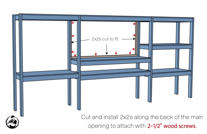 DIY Storage Shelving with Workstation Plans Step 6