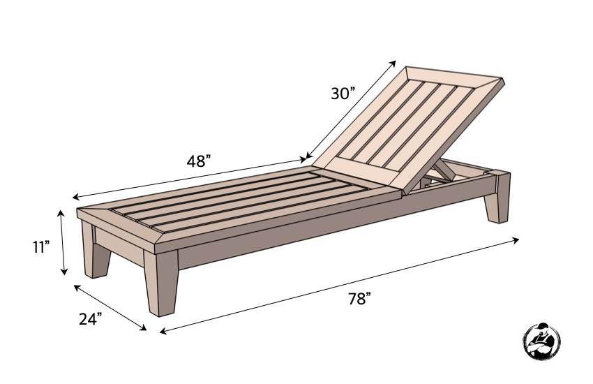 DIY Outdoor Chaise Lounger Chair Plans Dimensions