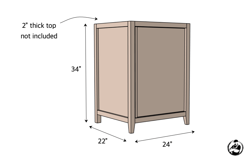 DIY 24in Vanity Plans Dimensions